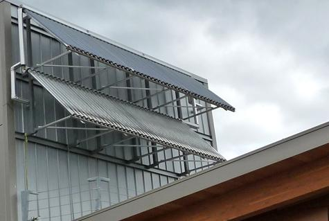 VIU LEED Cowichan Campus solar energy panels on building used to heat the facility's water