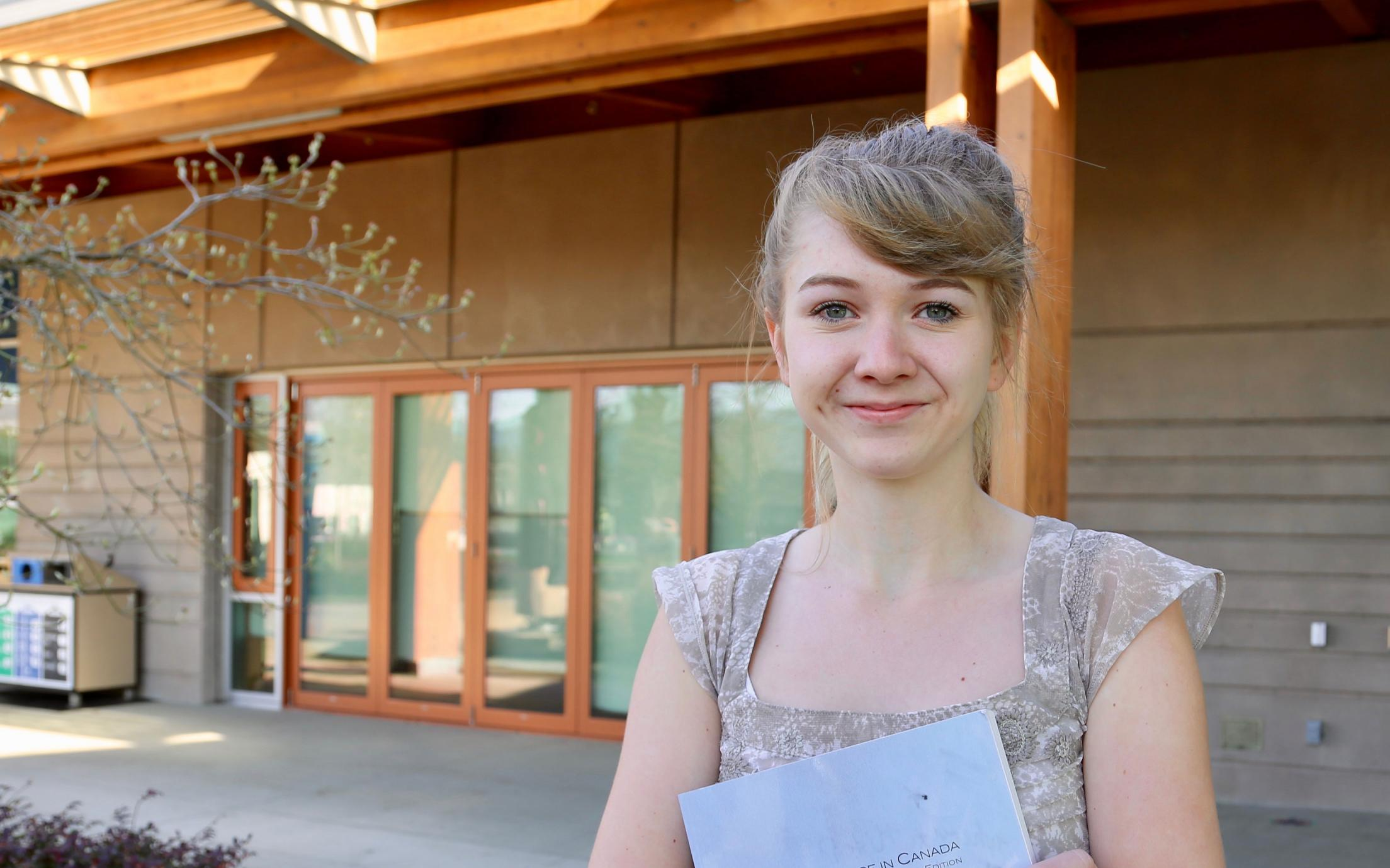 VIU Cowichan Campus Student in Courtyard