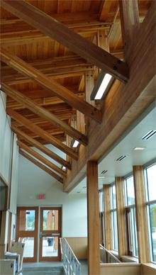 VIU LEED Cowichan Campus wood rafters, ceiling and posts used in facility.